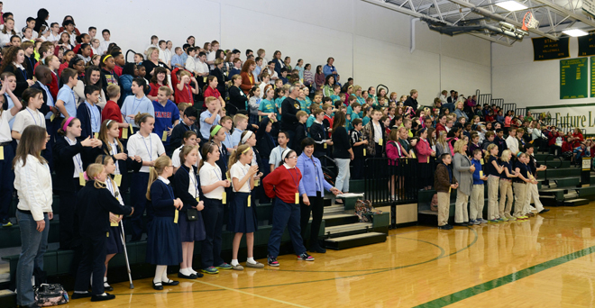 Fifth graders from around the diocese joined in singing before Fifth Grade Vocation Days, Feb. 6-7, began at Archbishop O'Hara High School. (photo courtesy of Phil Mueller)