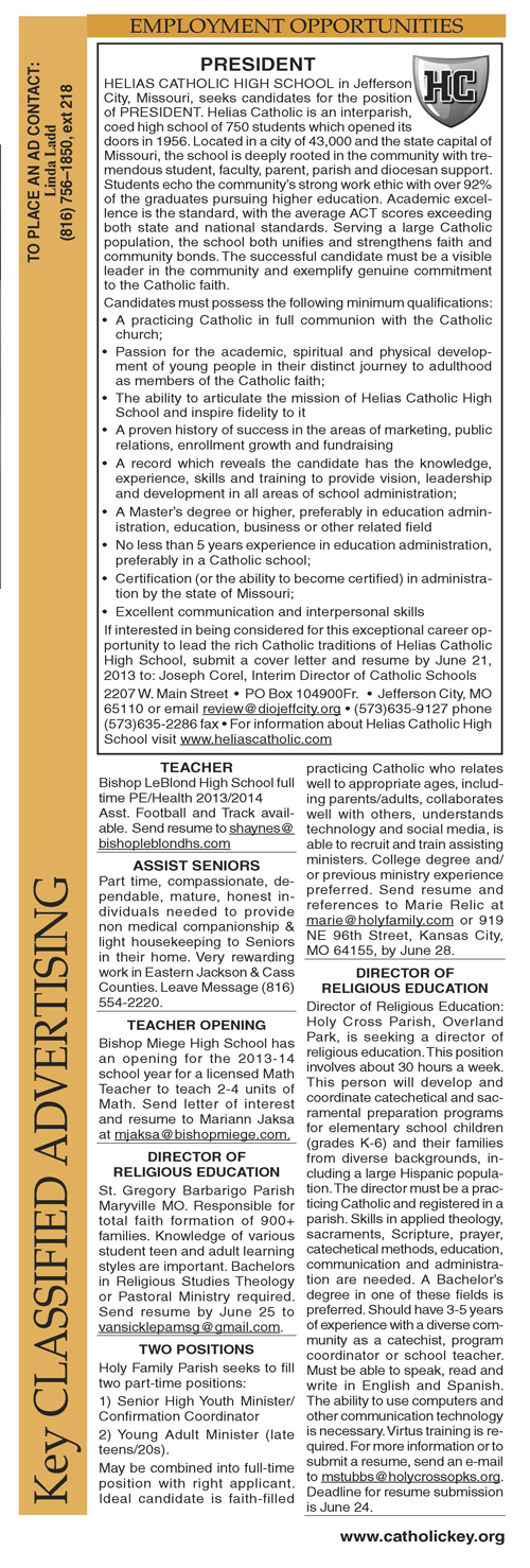 Key Classifieds - June 7, 2013, page 1