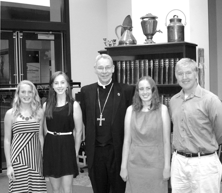 Ancient Order of Hiberbians Scholarship winners, from left: Brenna Killen, St. James Academy, Erin O'Connell, St. James Academy, Bishop Robert W. Finn, Gabrielle Chirpich, St. Pius X High School and John Perlick, St. Pius X.