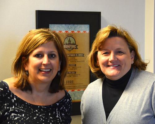 Founder Maura Nulton (R) introduces F.I.R.E.'s new executive director, Lynn Hire. (Marty Denzer/Key photo)
