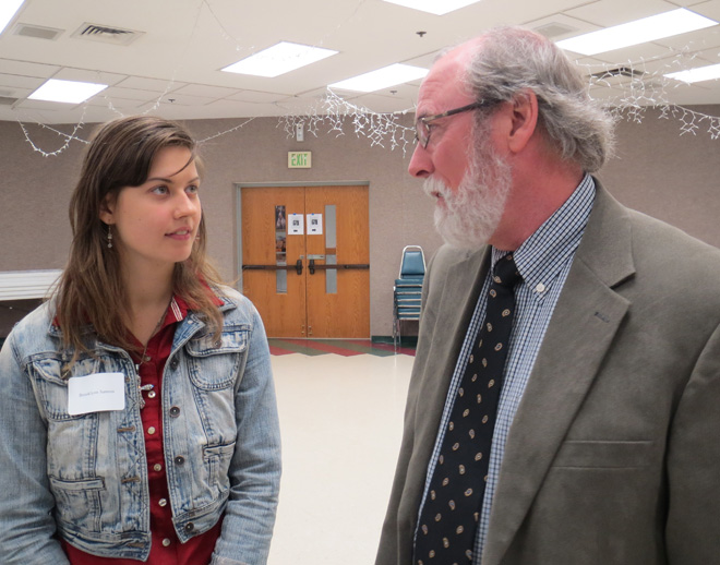 Attorney Sean O'Brien speaks with Brooklynn Samson, program manager for the diocesan Human Rights Office, at the fall workshop on prison ministry, conducted Oct. 26 at Our Lady of Guadalupe Parish in St. Joseph. (Kevin Kelly/Key photo)