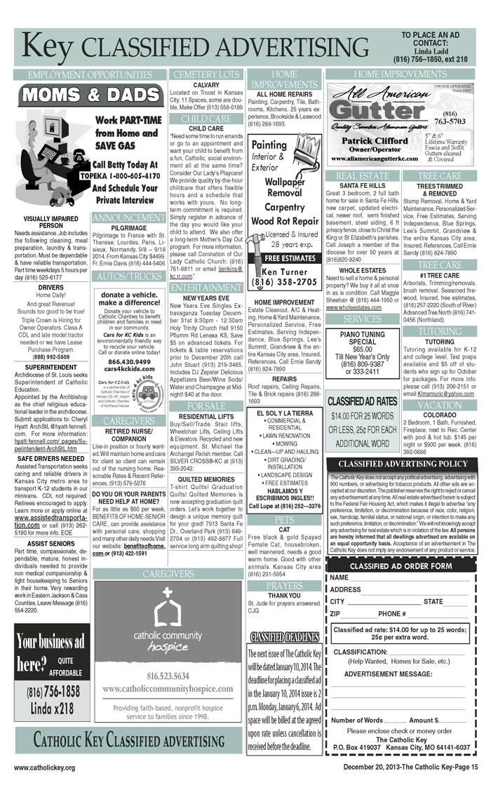 Key Classifieds - December 20, 2013