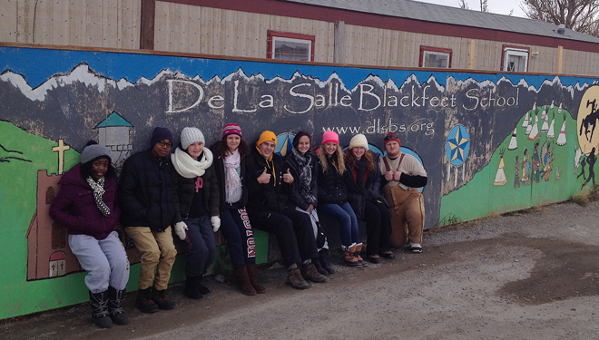 Nine students from Archbishop O'Hara participated in an project Nov. 2 to 10 to learn about Native American culture and life today on the Blackfeet Reservation near Browning, Mont. While there, they assisted at the De La Salle Blackfeet School, a sister school also in the Christian Brothers tradition. The students who participated were, not in order pictured, Shiri Aswangwe, Darryl Fritz, Jillian Kimbrel, Cami Koob, Maggie Novak, Alexis Bertrand, Missy Sayer, Wyatt Decker and Nick Darling. (photo courtesy of Steve Schmidt)