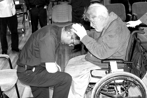 Father Peter Marsalek receives a blessing from SOLT Founder, Fr James Flanagan, shortly after being elected General Priest Servant. (Photo courtesy of SOLT)