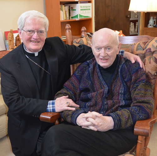 Bishop Raymond J. Boland is pictured in his residence at Our Lady of Sorrows with his brother, retired Savannah Bishop Kevin Boland,  on Feb. 22, the day they left Kansas City for Ireland.  (Key photo/Joe Cory)
