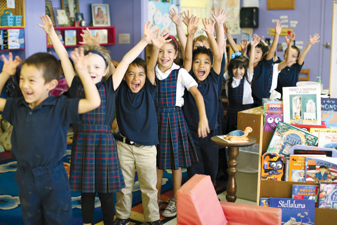 Students at Our Lady of Angels cheer for their school, their teachers and for learning. (photo courtesy Jenny Wheat)