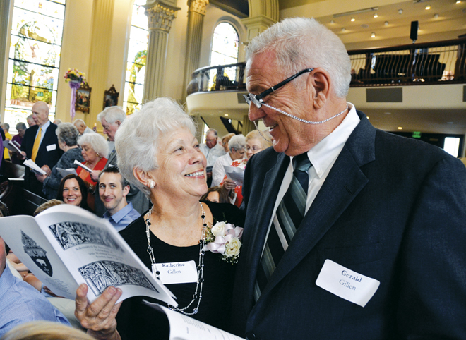 Katherine and Gerald Gillen of St. Mark the Evangelist Parish, Independence, renew their marriage vows June 1 during the annual diocesan celebration for couples celebrating 50 years of marriage in 2014. (Kevin Kelly/Key photo)