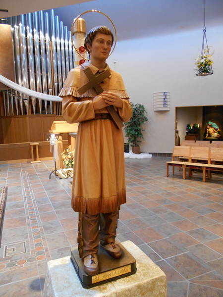 This statue of St. John LaLande is the first statue of the saint to be dedicated in a church bearing his name in the entire world. (photo courtesy of St. John LaLande Parish)