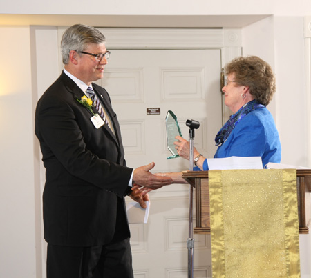 Sister Joan Harris, CSJ, presents the Generosity of St. Joseph Award to Dr. Ron Slepitza, at a gala held at the Sisters of St. Joseph Motherhouse in Carondolet, Mo. (photo courtesy of Bernie Elking Photography)