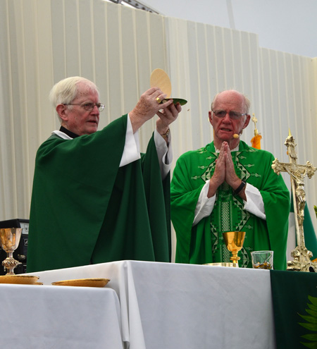 Bishop Emeritus J. Kevin Boland of Savannah, Ga., celebrates Mass Aug. 31 at Crown Center during the annual Kansas City Irish Fest. (Kevin Kelly/Key photo)