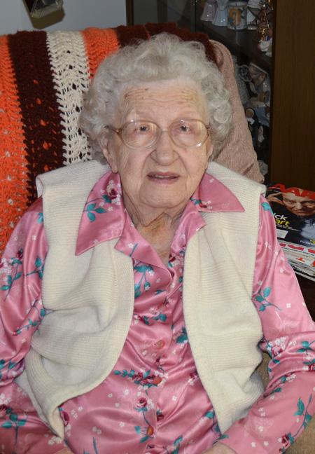 Julia Kohlberg has seen many changes during her lifetime, but her faith in God remained changeless. She will celebrate her 100th birthday Sept. 15. (Marty Denzer/Key photo)