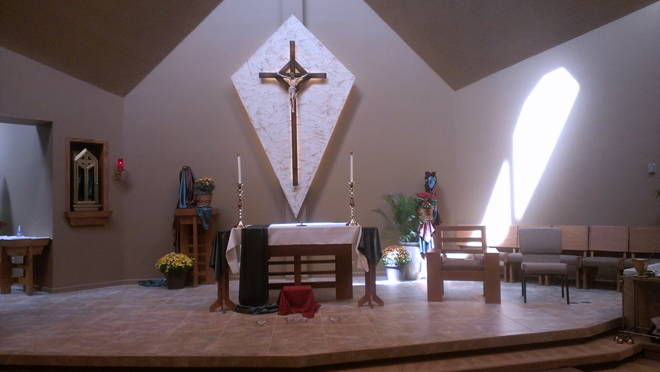 The newly renovated interior of St. Robert Bellarmine Church, Blue Springs. (photos courtesy Pat Devenney of St Robert Bellarmine Parish)