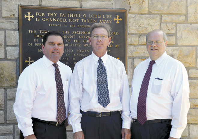 The new management team for Catholic cemeteries is, from left, Steve Pierce, David Kies and Charlie Passantino. (Marty Denzer/Key photo)