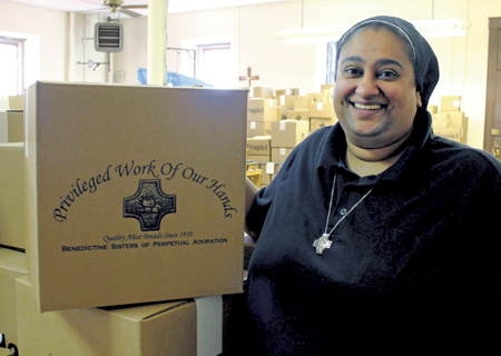 Sister Lynn Marie D'Souza, OSB has been appointed manager of the Benedictine Sisters of Perpetual Adoration's altar bread department, which has been making communion hosts for over a century. (photo/Courtesy Kelley Baldwin)