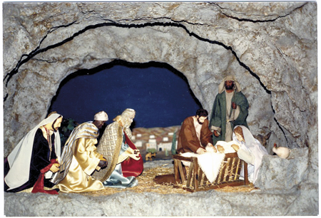 The Nativity scene at St. Francis Xavier Parish in Kansas City was researched, designed, constructed and assembled by parishioners. It made its first appearance in the church Dec. 25, 1962, and every year since. (Photo courtesy St. Francis Xavier Parish)
