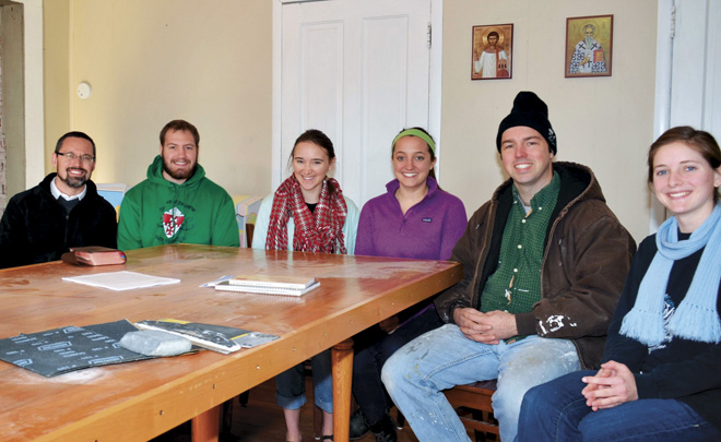 Seminarians Dylan Ostdiek and Brandon Allen; Michaela Pezza, Kara Cruickshank, Clark Massey and Erin Bunker. (photo courtesy Russell E. Saltzman)