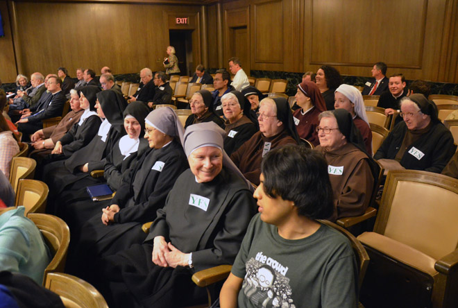 Sisters from several religious orders came to City Hall March 17 to support a plan to build student housing on land now occupied by the vacant St. Francis Xavier School between the University of Missouri-Kansas City and Rockhurst University. (Kevin Kelly/Key photo)