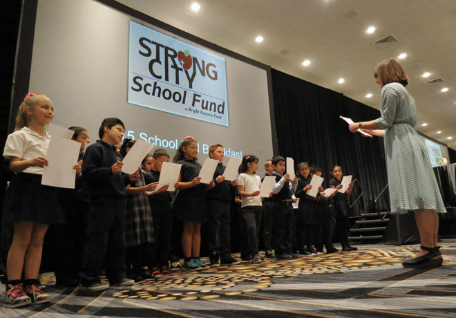 Second grade choir from Holy Cross School. (photo by Cliff Schiappa)