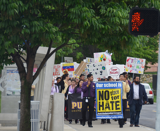 Marching behind the No Place for Hate banner, Cristo Rey High School students gave voice to the shared belief that all lives matter. (Marty Denzer/Key photo)