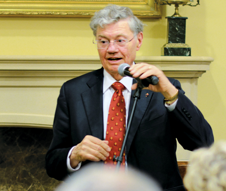 Domino's founder Tom Monaghan addressed local Catholic business leaders June 11 about witnessing to their faith.  (Key photo courtesy Jill Ragar, The Leaven)