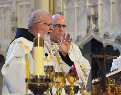 Cardinal Sean O'Malley of Boston celebrates Mass July 27 at St. Peter Cathedral in Kansas City, Kan., for pro-life directors from 51 dioceses attending the three-day Pro-Life Leadership Conference at the Plaza Marriott Hotel in Kansas City, Mo. The conference was sponsored by the U.S. bishop's Pro-Life Secretariat and hosted by the Respect Life Office of the Diocese of Kansas City-St. Joseph and the Pro-Life Office of the Archdiocese of Kansas City in Kansas. (Kevin Kelly/Key photo)