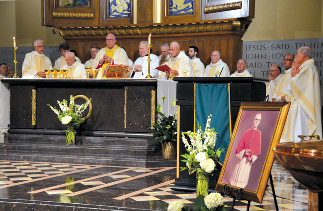 Archbishop Joseph F. Naumann and priests of the Diocese of Kansas City-St. Joseph celebrated a memorial Mass Sept. 2 for Cardinal William Baum at his home parish, St. Peter in Kansas City. (Kevin Kelly/Key photo)