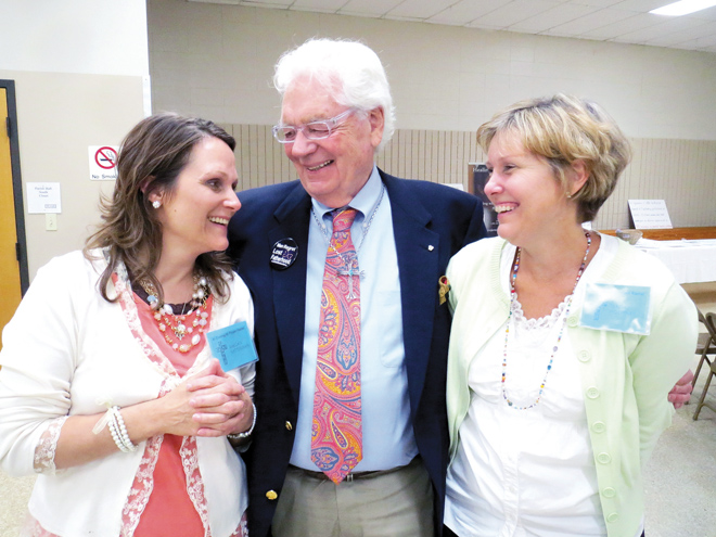 "Raegan Ratterman, Glenn Darrow and Teresa Hoeppner share some joy after ""An Evening with Project Rachel"" Sept. 19 at St. John LaLande Parish in Blue Springs. Hoeppner, director of Project Rachel for the Diocese of Kansas City-St. Joseph, hosted Ratterman and Darrow as they told their stories of how they found healing after abortion from two of Project Rachel's programs. (Kevin Kelly/Key photo)"