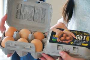 A carton of organic, free-range eggs, some more than 34,000 eggs gathered at Trinity Hills and donated to the needy since its establishment. (Marty Denzer/Key photo)