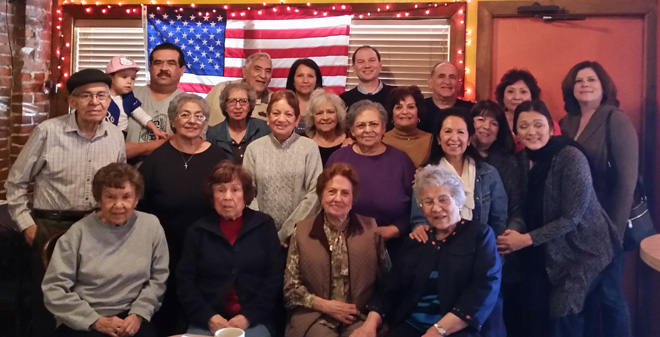 Descendants of Maria Suarez Colin Hernandez, who settled on the west side in the 1920's, all attended  Our Lady of Guadalupe  School during the years 1927-1981, including Angela Belen, Jessie Garcia Nieto, Mary Helen Rios, Carmen and Mike Aguirre, Teresa Garcia Medina, Teresa Wuick Mendez, Alfred Zuniga, Melie Mendez and Steve Belen among others.  This photo was taken Nov. 14, 2015. (photo courtesy of Steve Belen)
