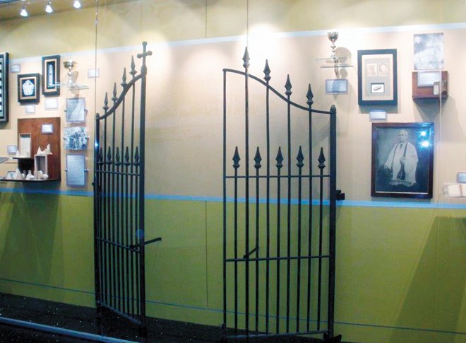 The gates that secured the Quality Hill Campus of St. Teresa's Academy from 1880 – 1910 are on display in Windmoor Center, along with Father Bernard Donnelly's chalice and paten, the bell acquired by Father Benedict Roux for St. John Francis Regis Church in the 1830s, which later became the Cathedral of the Immaculate Conception; and other pieces of 150 years of history of the Academy, its teachers and students. (Marty Denzer/Key photo)