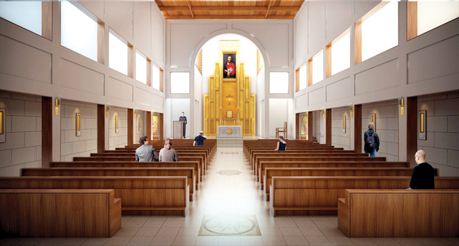 Architect's rendering of the chapel at St. Michael the Archangel High School. (courtesy of Hollis and Miller and SFS Architects)