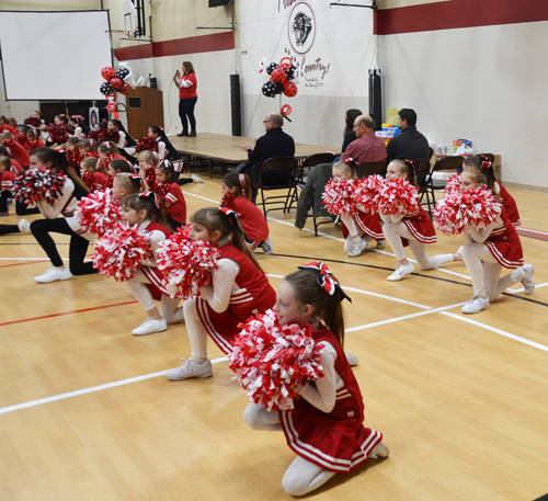 Spirit Squad  performances were part of the Catholic Schools Week Pep Rally at Our Lady of the Presentation School, Feb. 5. (Marty Denzer/Key photo)