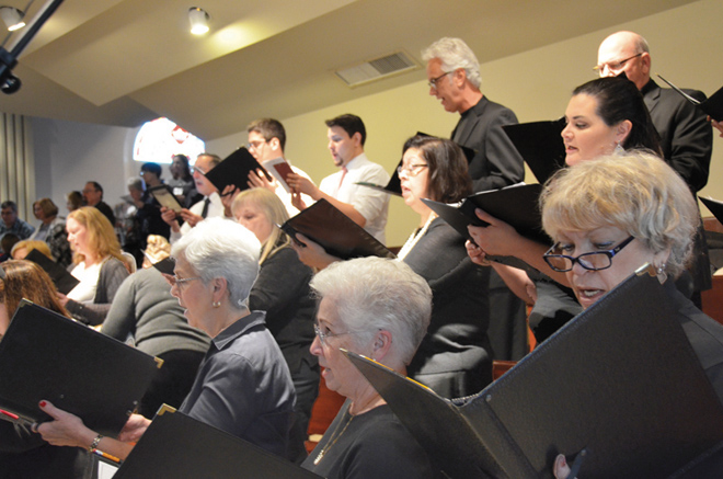 The Diocesan Choir sings at the Rite of Election at the Cathedral of the Immaculate Conception on Feb. 13. (Kevin Kelly/Key photo)