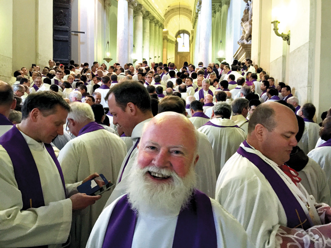 Father Chuck Tobin poses among the over 1,100 priests commissioned by Pope Francis to be Missionaries of Mercy at a Feb 10 ceremony in St. Peter's Basilicia. (photo courtesy of Father Chuck Tobin)