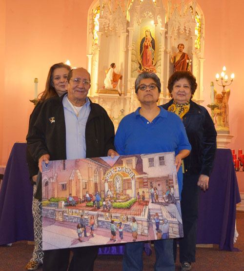 An architect's rendering of the planned Shrine grotto, held by Shrine Association members Liz Melker, Teresa Sauceda, Paul Rojas and Ramona Arroyo. (Marty Denzer/Key photo)