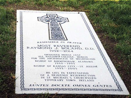 The granite memorial marker, dedicated April 9, honors Bishop Raymond Boland's 21 years of service in this diocese.