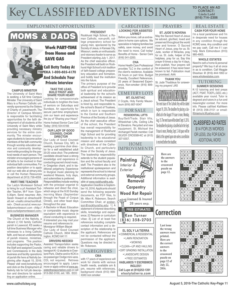 Key Classifieds - August 5, 2016