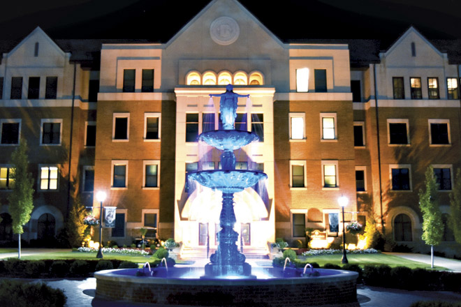 The fountain of Our Lady of Grace in the Academic Quad on the Benedictine College campus was lit in blue as part of the observance of the canonization of St. Teresa of Calcutta. Numerous buildings, fountains and signs were illuminated in blue for the 11-day observance from Mother Teresa's birthday on August 26 until her feast day on September 5. (photo courtesy of Benedictine College)