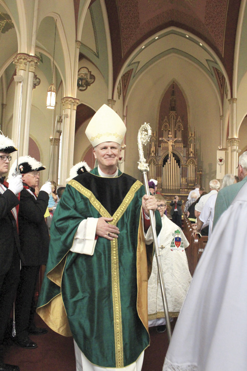 Bishop James V. Johnston, Jr. celebrated Mass for the 125th anniversary of the foundation of St. Francis Xavier Parish in St. Joseph. (Sara Kraft/Key photo)