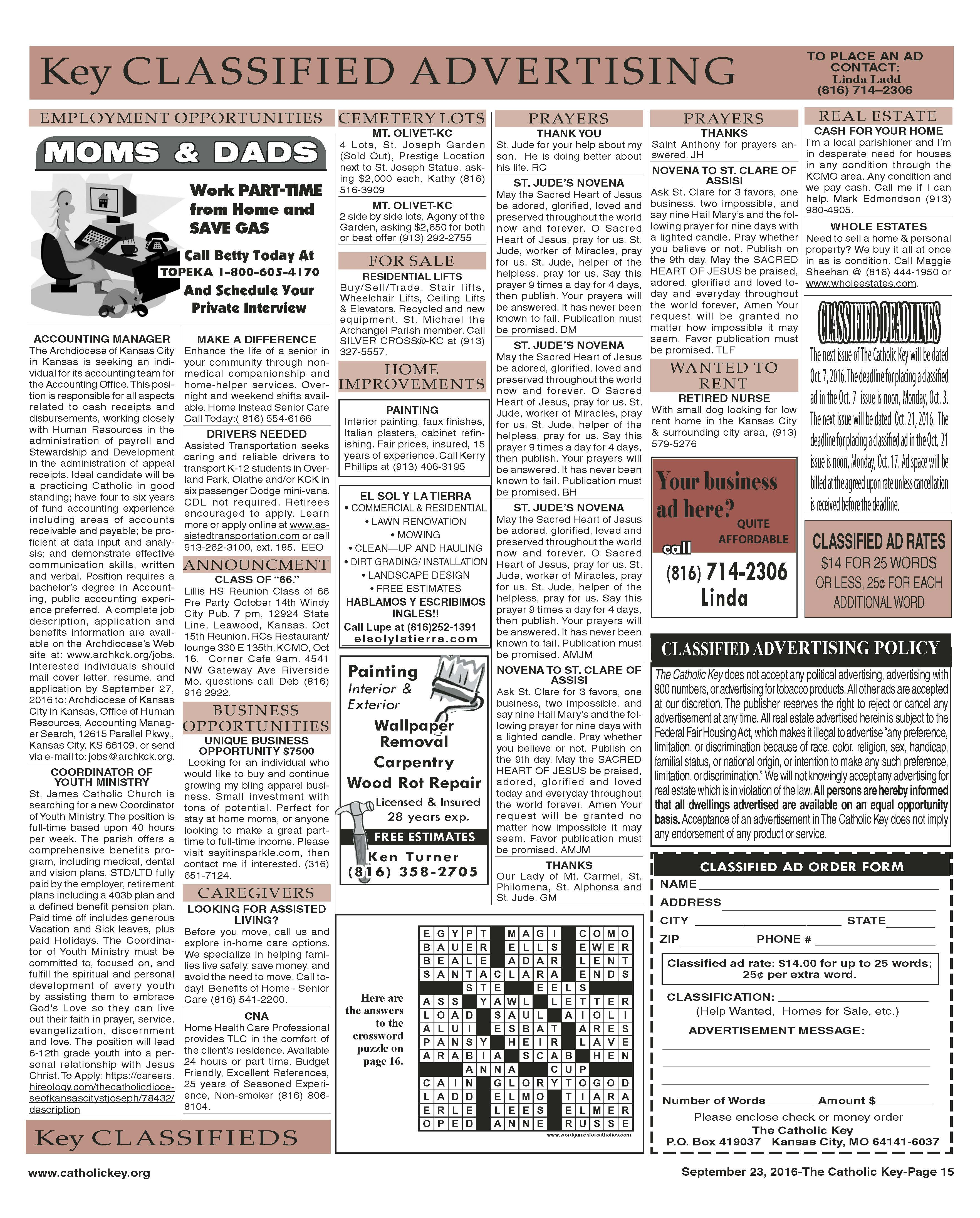 Key Classifieds - September 23, 2016