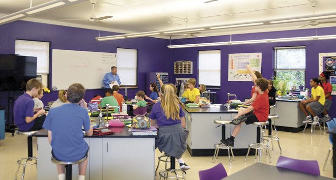 Seventh graders preparing to begin a science experiment in Jim Flournoy's class. (Marty Denzer/Key photos)