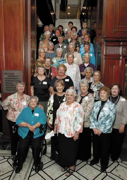 Celebrating Sisters of St. Joseph of Carondelet pose for a photo in the Muehlebach Hotel's Old Lobby. (photo courtesy of Sisters of St. Joseph)