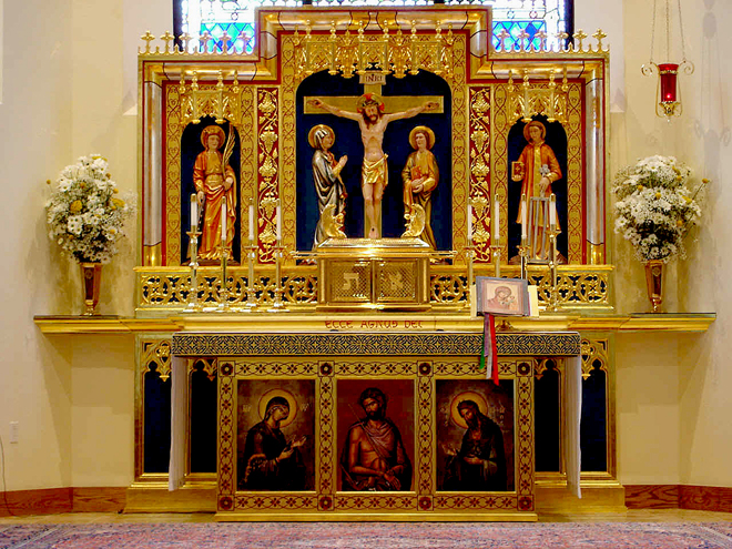 High altar of Our Lady of Walsingham in Houston, Texas, which is the Cathedral of the Personal Ordinariate of the Chair of St. Peter.
