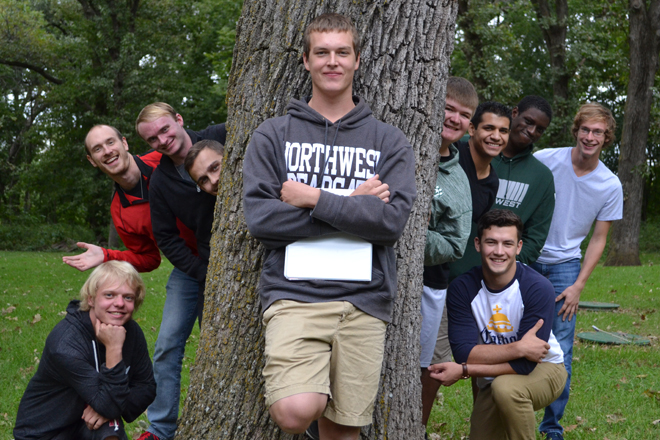 Northwest Missouri State University men pose for a picture during their Fall 2016 Camino Retreat. (Photo courtesy of NWMSU Newman Center)
