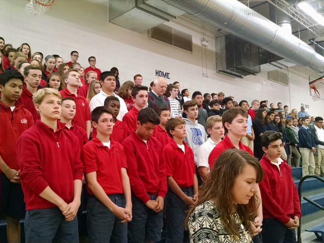 Students stand for the Opening Prayer. (photo courtesy the Respect Life Office)