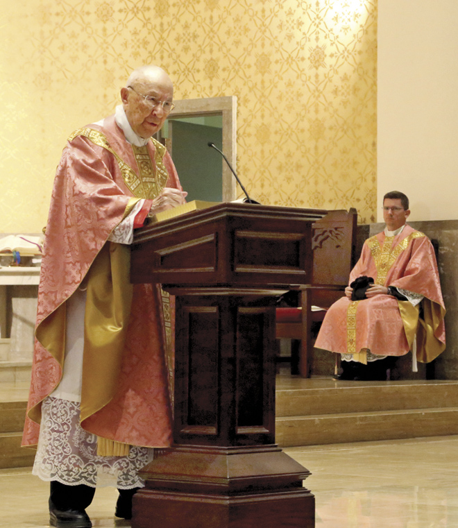 """Msgr. Blacet begins his homily with a good news, bad news tease. """"I spoke with a priest who told me some bad news, I have the right to speak one minute for each year I've been a priest! The good news is he's not my spiritual director!"""" HIs homily was just over 34 minutes long. (Megan Marley/Key photo)"""