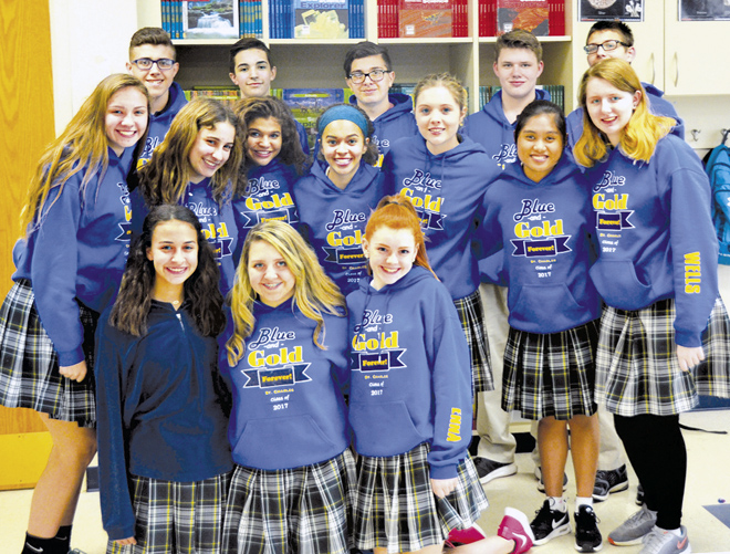 Karla Prewitt's 8th grade class is already nostalgic about their grade school years. Their taste of classical education was enjoyed by all! (Marty Denzer/Key photo)