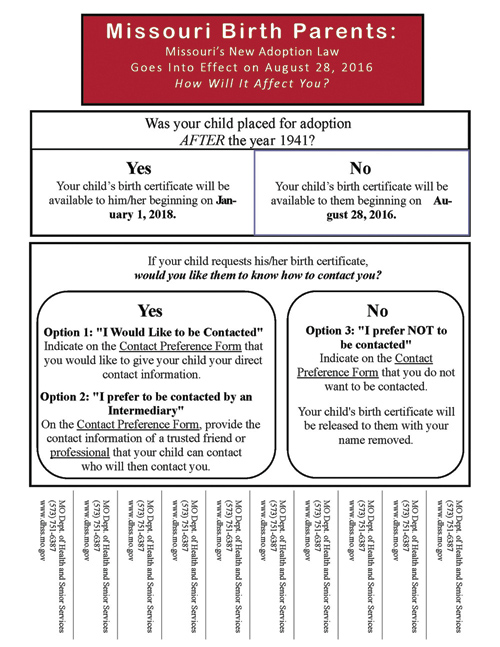 One of the flyers posted in the Kansas City area by the Birth Parent Communication Task Force. The flyer provides contact information strips for the Missouri Department of Health and Senior Services, where birth parents and adoptees can get more information about the Missouri Adoptee Rights Act. (Megan Marley/Key photo)